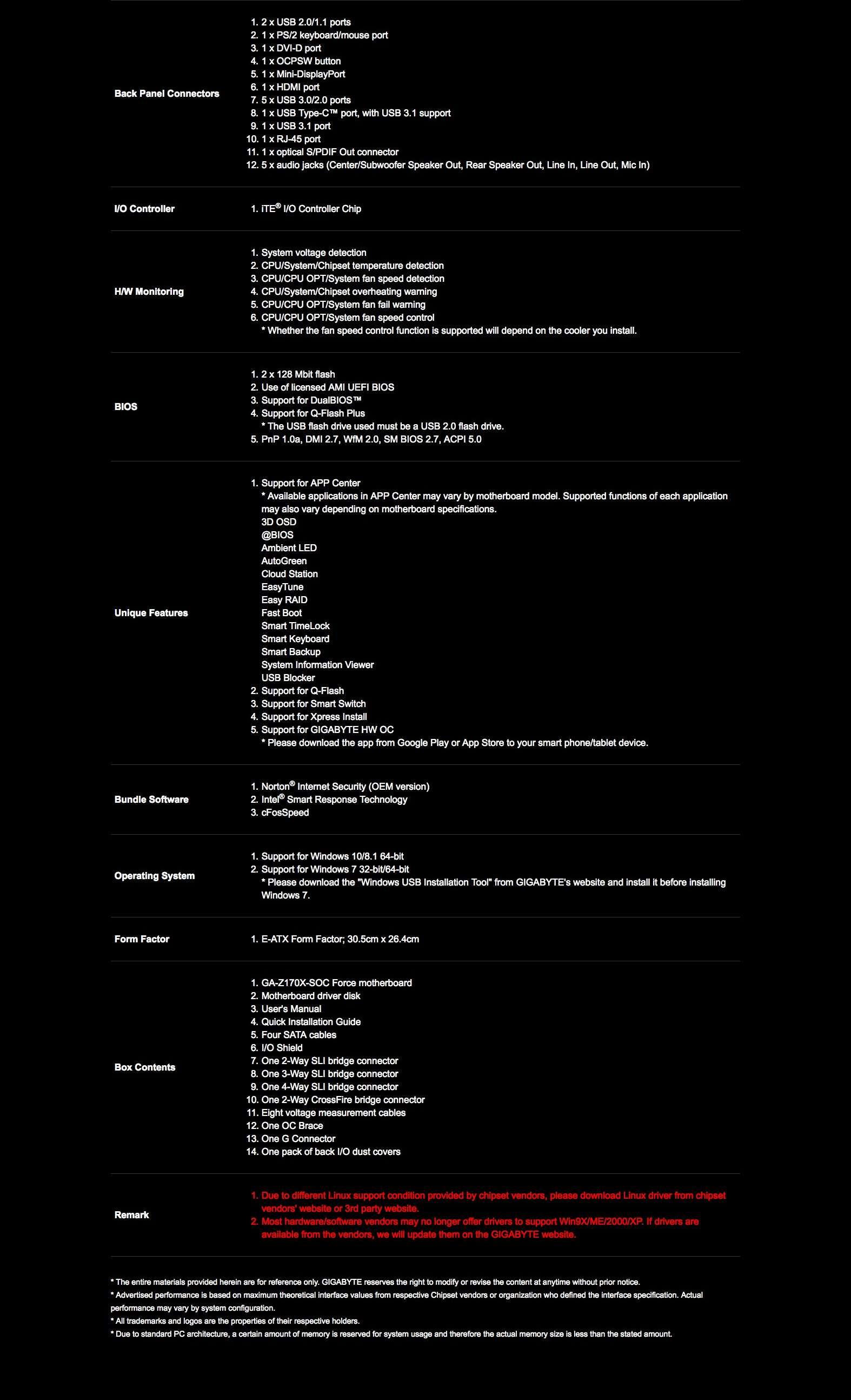Gigabyte GA-Z170X-SOC FORCE (rev  1 0) Motherboard